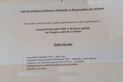 Réunion Bureau du 10 Décembre 2016