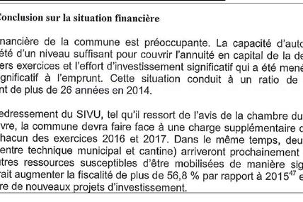 Rapport de la Cour des Comptes : la commune devrait augmenter la fiscalité de plus de 56% !
