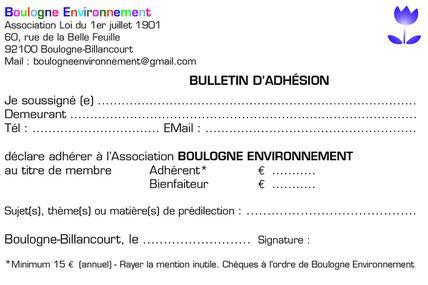 Adhérer à Boulogne Environnement