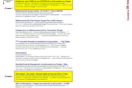 Contenus en POLE POSITION Google par referencement naturel
