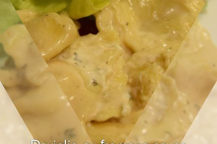Raviolis au fromage sauce boursin