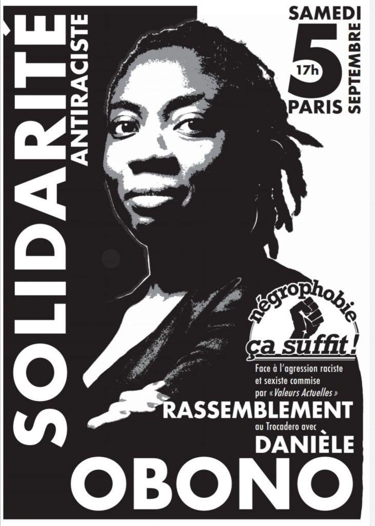 Rassemblement samedi 5 septembre à 17h au Trocadero en soutien a Danièle Obono, contre le racisme décomplexé de Valeurs actuelles