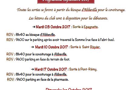 Programme de Marche-Nordique Octobre 2017 CLUB GEA D'ABBEVILLE