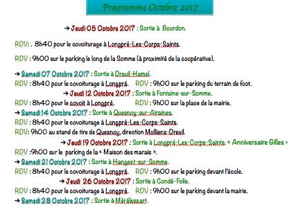 Programme de Marche-Nordique Octobre 2017 CLUB ASCA D'AIRAINES