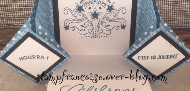 Projet d'atelier STAMPIN UP Carte/Album Birthday blast / stitched with heart dies