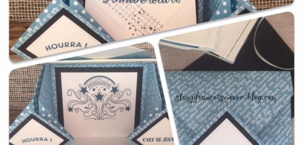 STAMPIN'UP Projet d'atelier   Carte/Album Birthday blast / stitched with heart dies