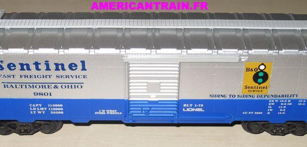 Wagon Box Car Baltimore & Ohio 3 rails échelle O Lionel