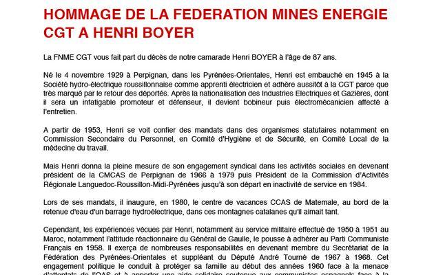Hommage de la FNME CGT à Henri Boyer