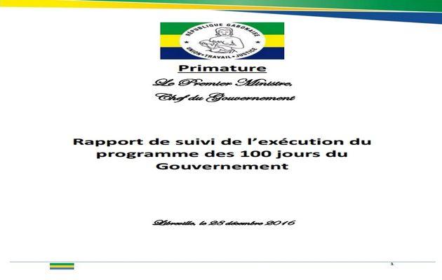 Rapport de suivi de l'exécution du programme des 100 jours du Gouvernement