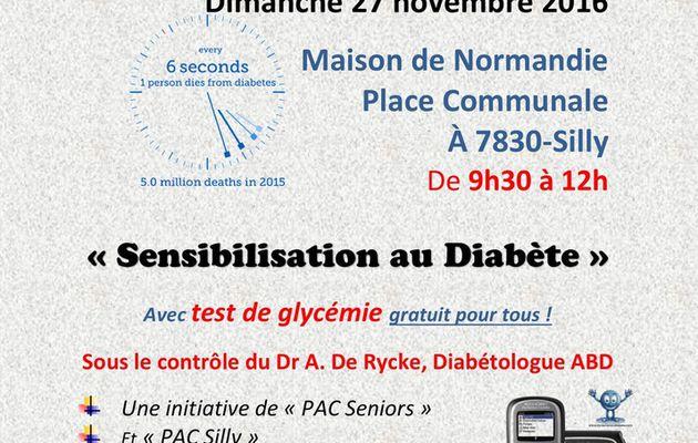 Le 27 novembre à Silly : Dépistage gratuit du diabète .....