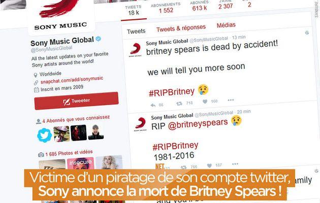 Victime d'un piratage de son compte twitter, Sony annonce la mort de Britney Spears ! #OurMine