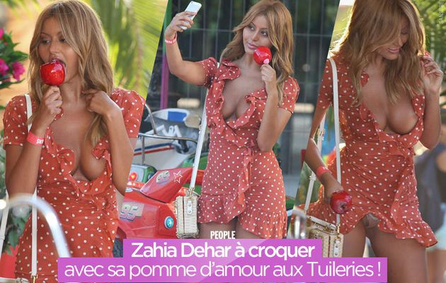 Zahia Dehar à croquer avec sa pomme d'amour aux Tuileries ! #sexy
