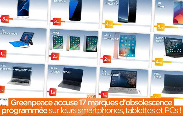 Greenpeace accuse 17 marques d'obsolescence programmée sur leurs smartphones, tablettes et PCs ! #RethinkIT