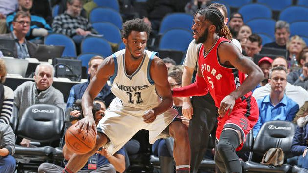 Andrew Wiggins guide Minnesota face aux Raptors