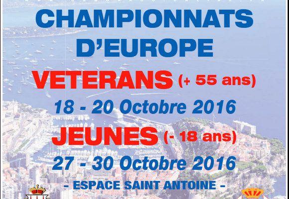 """CHAMPIONNATS D'EUROPE JEUNES 2016 à MONACO : Le Programme, Le Direct """"WEB TV"""", Les Résultats, etc..."""