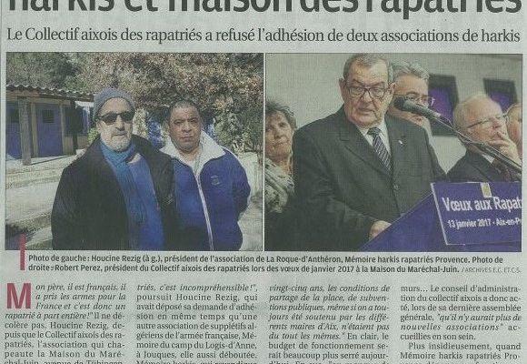 Le collectif Aixois des rapatriés a refusé l'adhésion de deux associations de harkis.