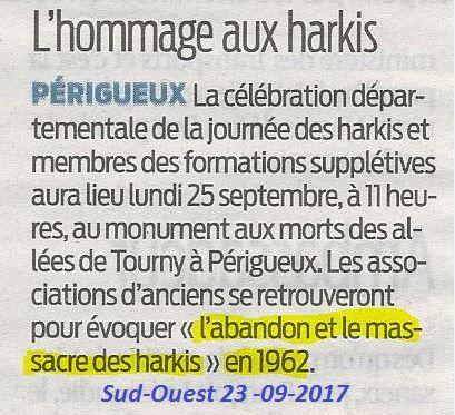 Annonce de la journée nationale d'Hommage aux Harkis, et membres des formations supplétives, la presse en parle, les journaux Sud-Ouest et Dordogne Libre ( 24 )