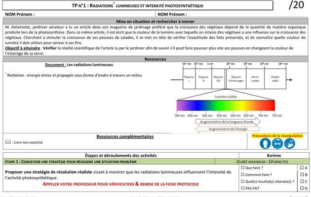 TP1_spé : Radiations lumineuses et intensité photosynthétique