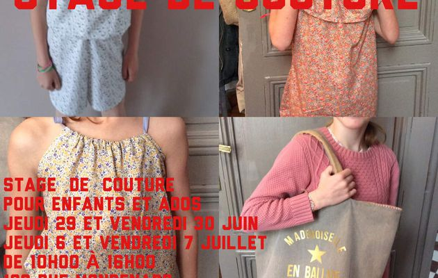 STAGE DE COUTURE ..changement de dates ...