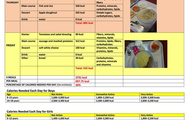 AM2 The importance of maths in the care of the body/ Healthy eating menu