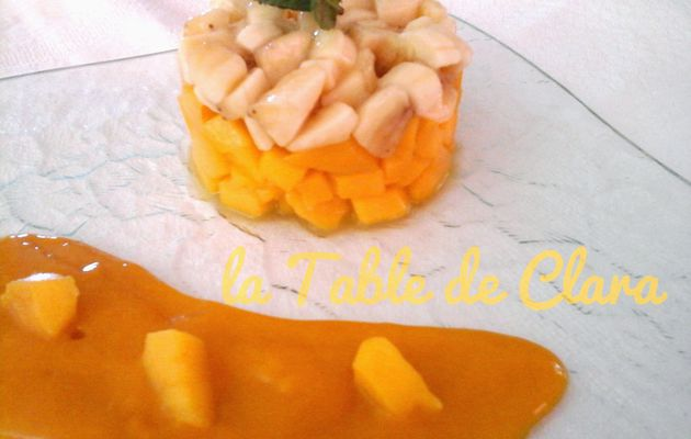 Tartare mangue banane et coulis de mangue