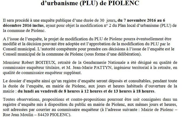 Modification du Plan Local d'Urbanisme (PLU) fin de l'enquête publique.