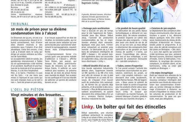 Ouest France Dinan du 28/10/2016 compteurs intelligents