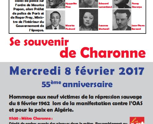 8 FEVRIER 1962 - 8 FEVRIER 2017, CHARONNE N'OUBLIONS JAMAIS