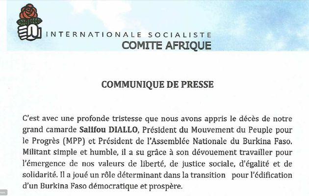 Communiqué de l'Internationale socialiste - Comité Afrique relatif au décès du camarade Salif DIALLO
