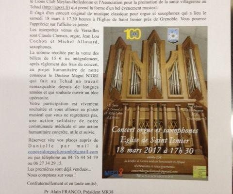 Concert d'orgue et saxophones, Eglise de St Ismier, le 18 mars 2017, organisé par l'AMVARA et le Lions Club Meylan-Belledonne