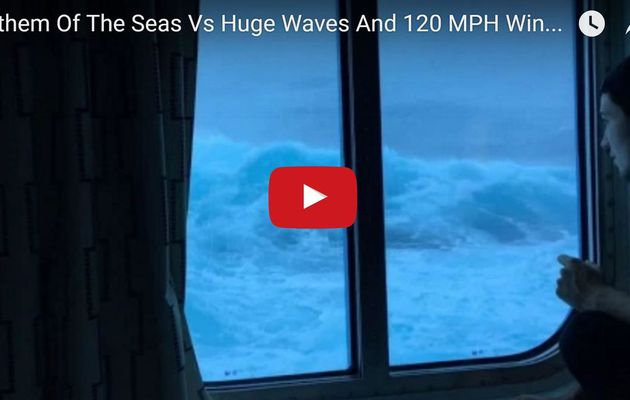 VIDEO - Anthem of the Seas in 9 meters waves and 190 km/h wind storm