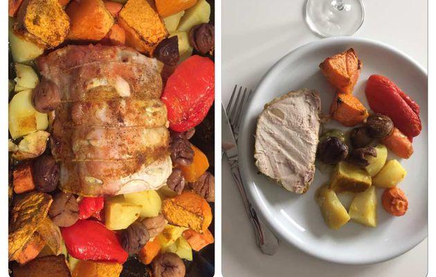 Rôti de porc au four et ses légumes