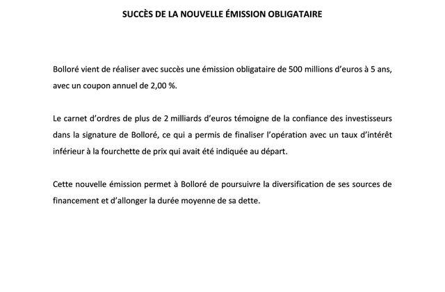 Communiqué de presse Bolloré : SUCCÈS DE LA NOUVELLE ÉMISSION OBLIGATAIRE