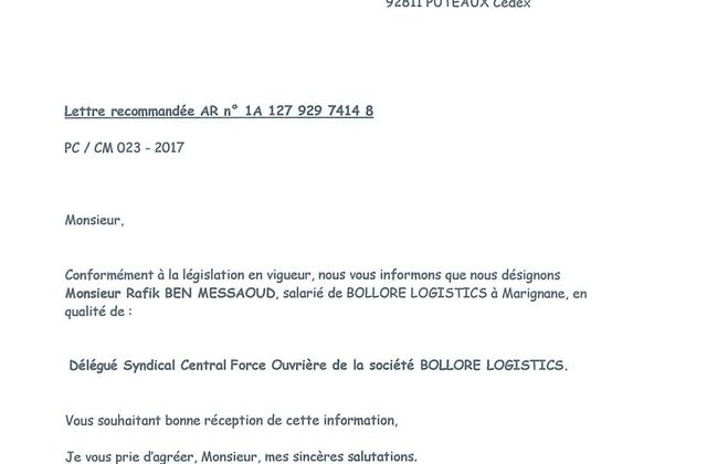 Désignation Délégué Syndical Central : Rafik BEN MESSAOUD