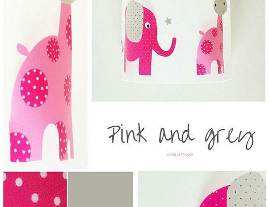 Applique Déco chambre bébé rose et grise