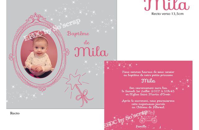 Faire part de baptême thème princesse de la petite Mila ....