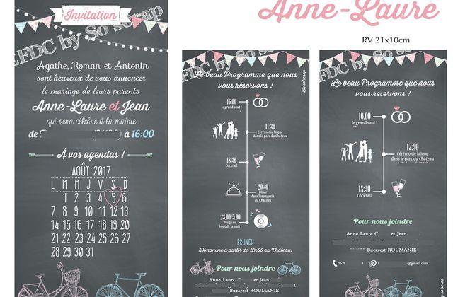 Le faire part de mariage d'Anne-Laure et Jean ... route vers Bucarest (Roumanie), une petite touche festive !