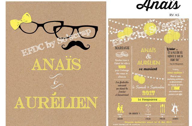 Le faire part de mariage thème lunettes et moustache d'Anaïs ....