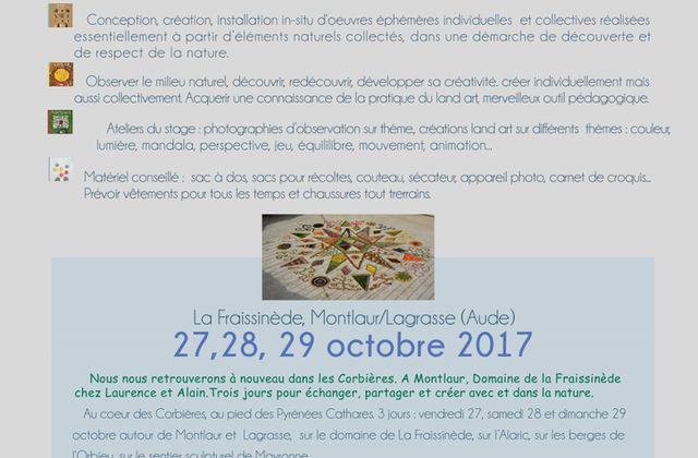 Stage land art d'automne du 26 au 29 octobre 2017