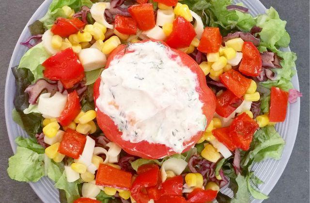 Tomate farcie au fromage frais et saumon fumé - 4sp