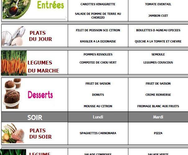 Les menus pour la (courte) semaine