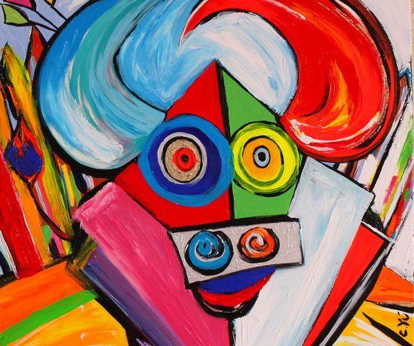 moyen format toile carrée 60 x 60 cm peinture taureau c yu n° 13 moderne colorée