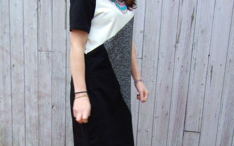 Robe asymétrique black & white ♡