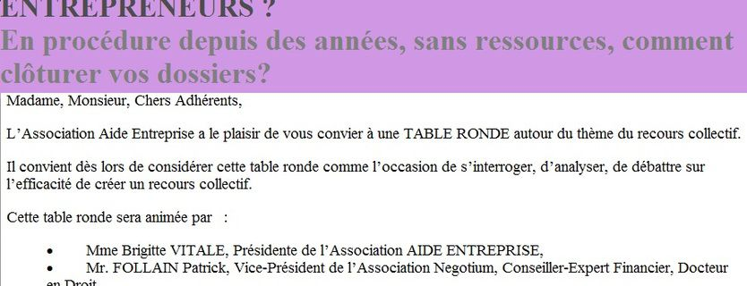 INVITATION TABLE RONDE 7 AVRIL 2017 A MULHOUSE - ALSACE