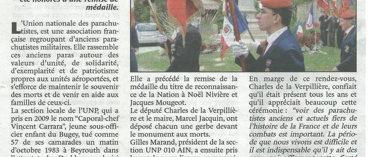 La section dans la presse: Saint Michel, article Le Journal du BUGEY du 13 octobre 2016