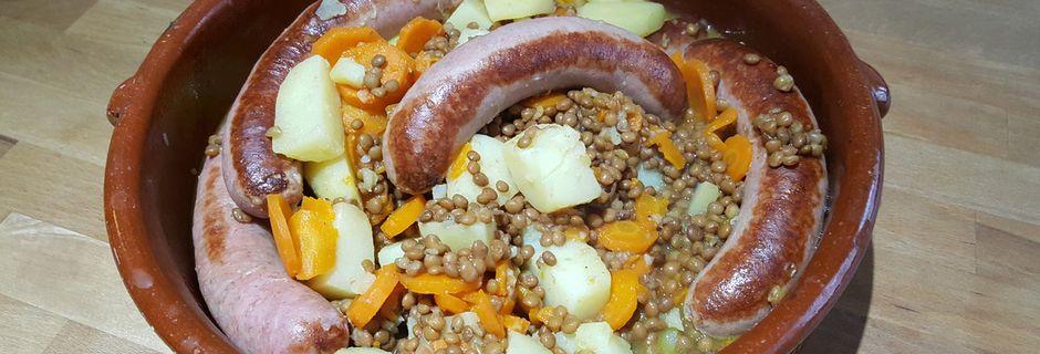 Saucisses lentilles carottes pommes de terre au cookéo