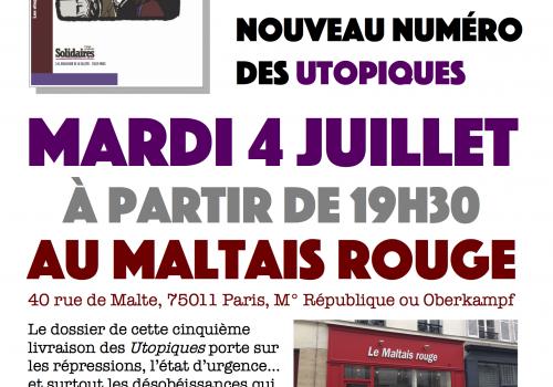 Les Utopiques : réunion de présentation du prochain numéro mardi 4 juillet à partir de 19H30 à Paris