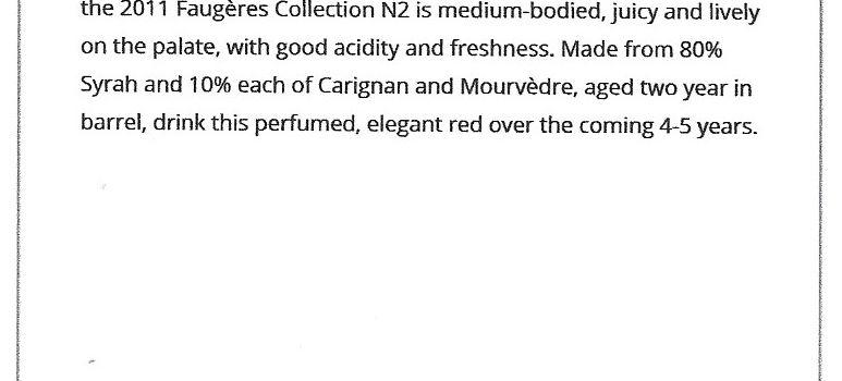 La cuvée « Collection N°2 2011 AB » citée dans le guide «Wine Advocate » de Robert Parker.