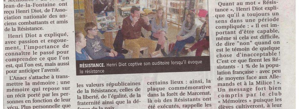 Henri Diot rencontre le club mémoires
