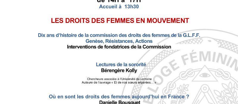 Les droits des femmes en mouvement, colloque de la Grande Loge Féminine de France le 25 février à Paris.